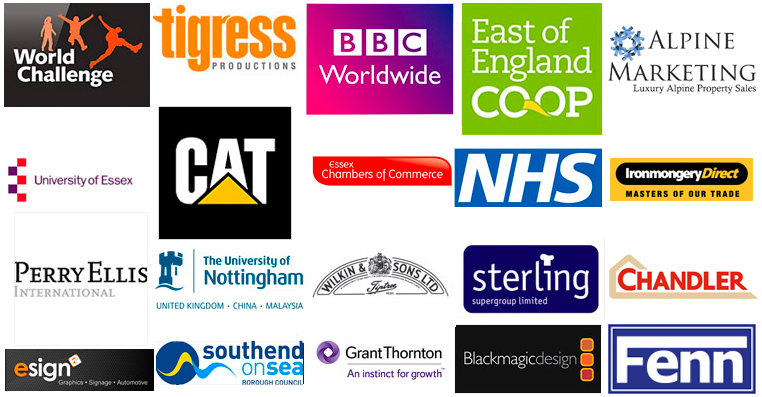 Clients logos bbc University of essex Chamber of commerce all did Red Rocket Studio Adobe training courses