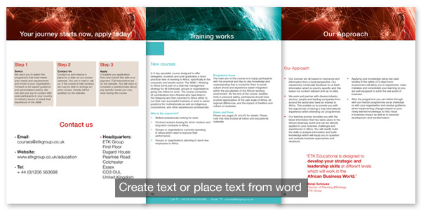 Place or create text in documents in indesign