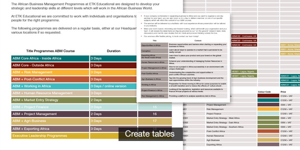 table in indesign
