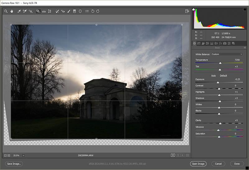 Original Hyde park Queen Caroline temple in Adobe raw file converter straightening lines
