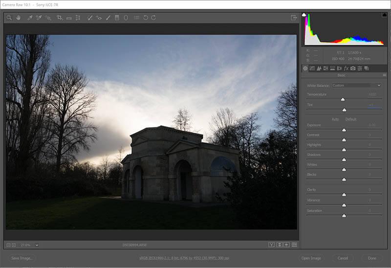 Original Hyde park Queen Caroline temple in Adobe raw file converter