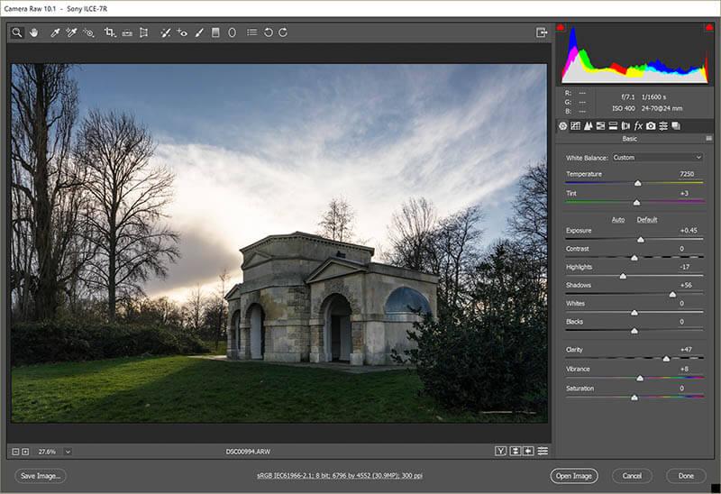 Original Hyde park Queen Caroline temple in Adobe raw file converter Lighten and darken