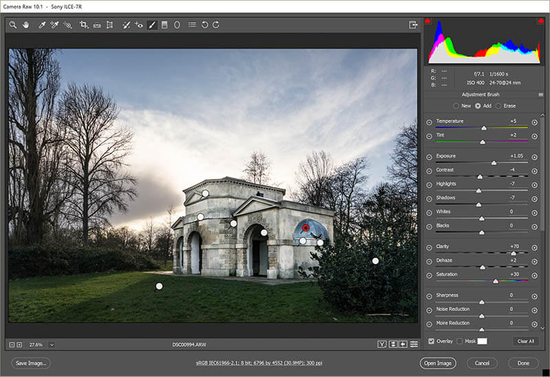 Original Hyde park Queen Caroline temple in Adobe raw file converter - adjustment brushes