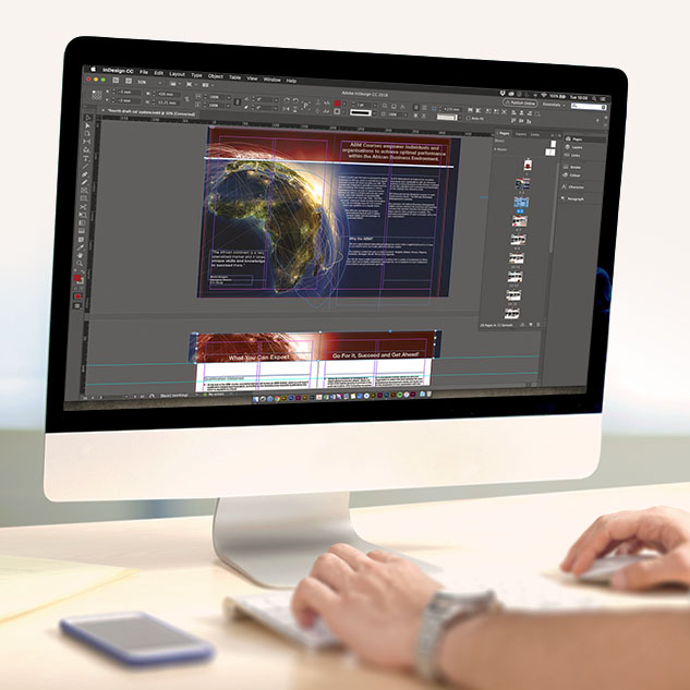 computer with adobe software for course